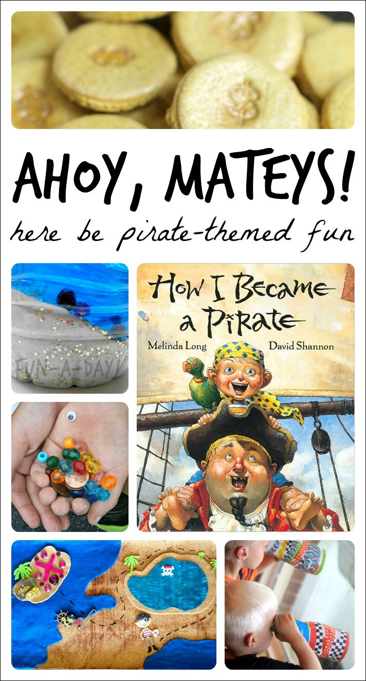 A collection of activities for a kindergarten or preschool pirate theme. Includes ideas for pretend play, snacks, literacy, arts and crafts, and science.