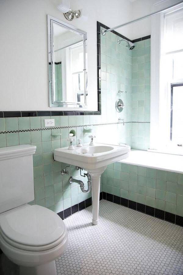 35 Vintage Black And White Bathroom Tile Ideas And Pictures Green Bathroom Black Tile Bathrooms Retro Bathrooms