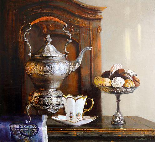 Still Life - Silver Teapot by  Snejana Slavova