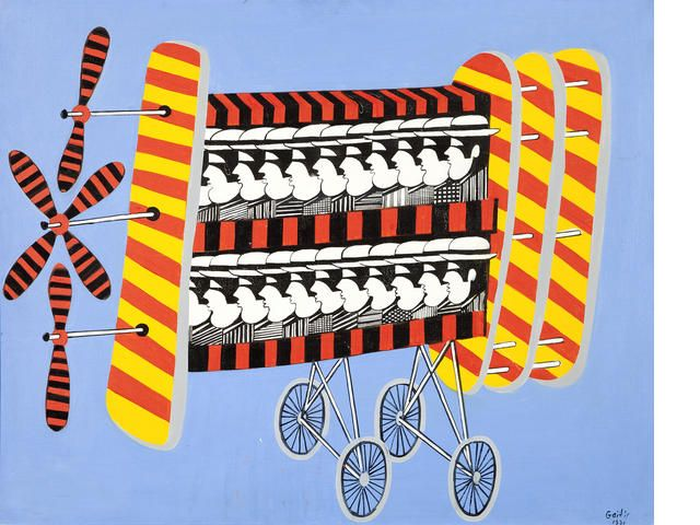 Yannis Gaïtis (Greek, 1923-1984) Olympic Air Blues 80 x 100 cm.