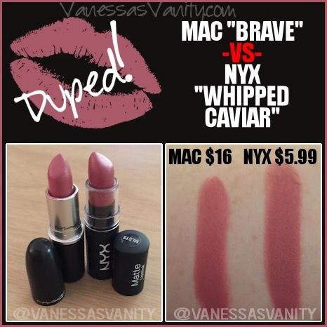 Dupe for Mac brave lipstick using NYX whipped caviar