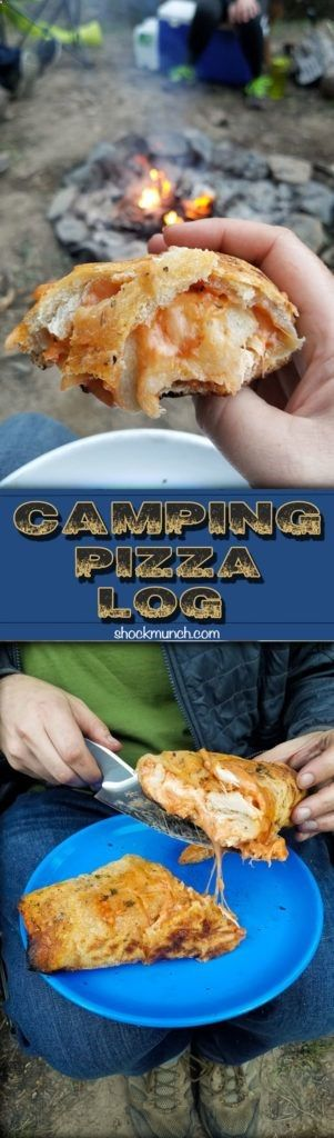 Camping Pizza Log - a fun and easy recipe to make in order to have fresh, piping hot pizza at camp! #camping #recipe #pizza