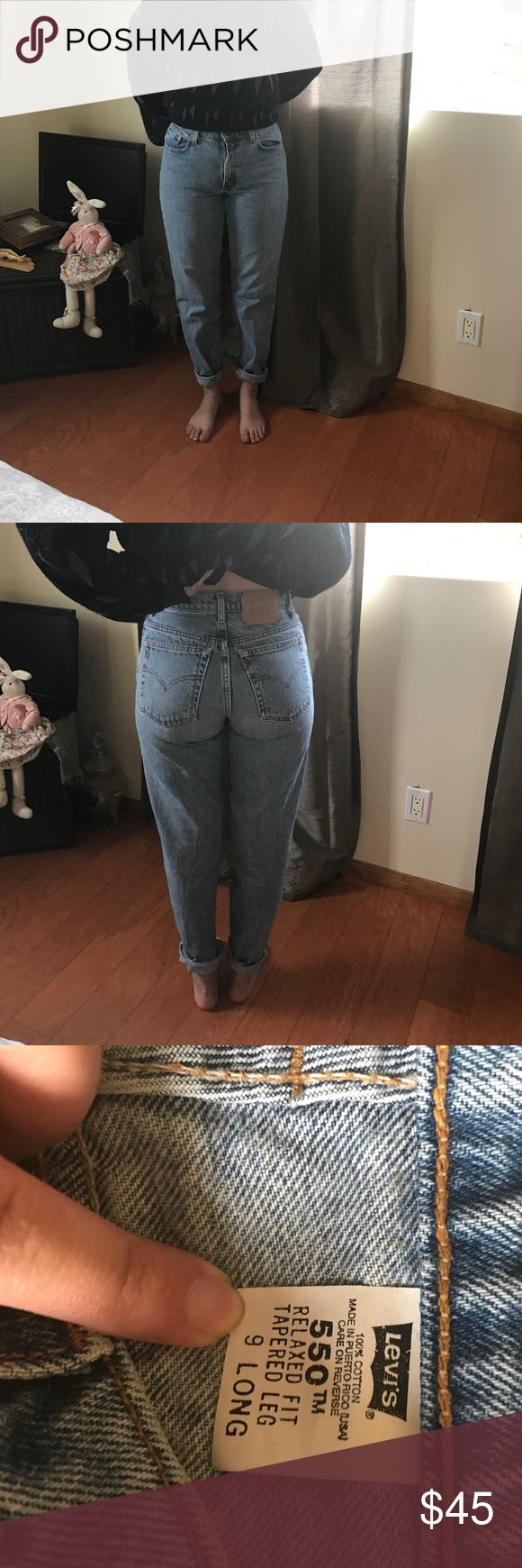 LEVI 550 HIGH WAISTED JEANS/MOM JEANS LEVIS 550 HIGH WAISTED JEANS. LIGHT-MEDIUM WASH. SUPER CUTE! *** REAL PICTURE OF THE JEANS. Levi's Jeans