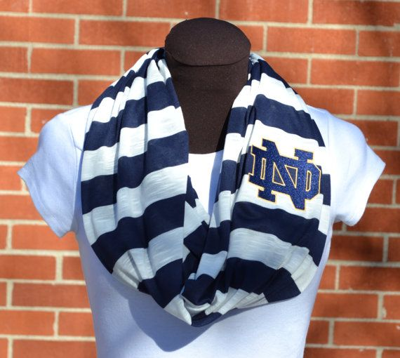 Notre Dame Game Day Infinity Scarf Navy & White Knit by byrdlegs, $25.00.  Need this for tailgating.
