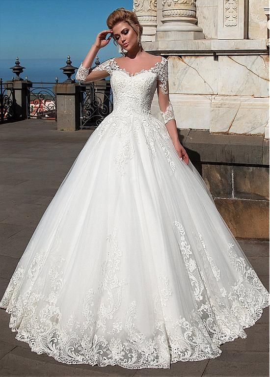 Buy discount Wonderful Tulle & Organza V-neck Neckline Ball Gown Wedding Dresses With Lace Appliques at Dressilyme.com