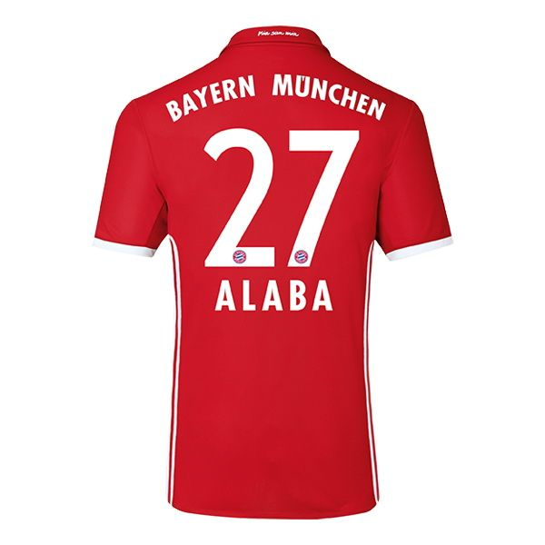 David Alaba #27 Bayern Munich 2016 Authentic Home Soccer Jersey