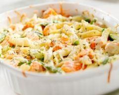 Gratin de pâtes au saumon et brocolis (facile, rapide) - Une recette CuisineAZ