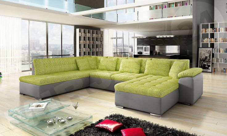 Green it's a colour of the spring! It's worthwhile having this corner at itself in the living room.  Zielony to kolor wiosny - warto go mieć w swoim salonie.  #green #mirjan24 #livingroom #salon #cornersofa #narożnik #sofa