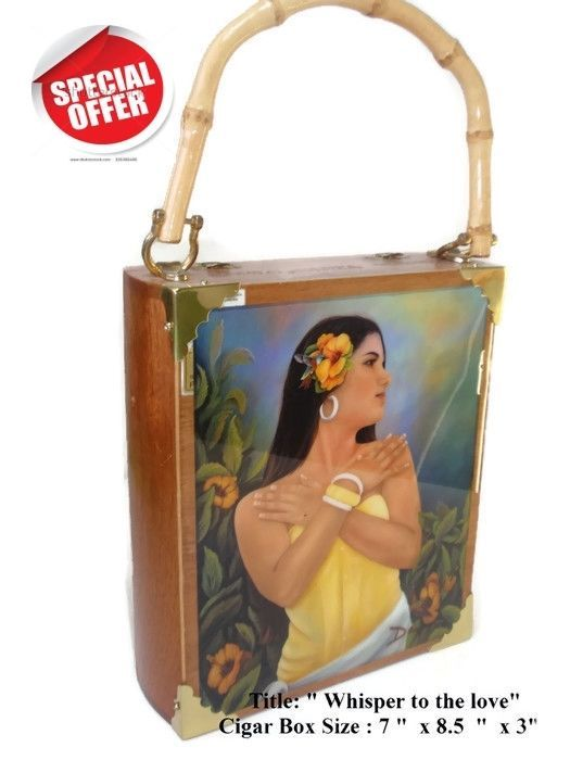 "Mother's Day Gift .Cigar Box Purse w/ Cuban artworks on top ""Whisper of Love ""."