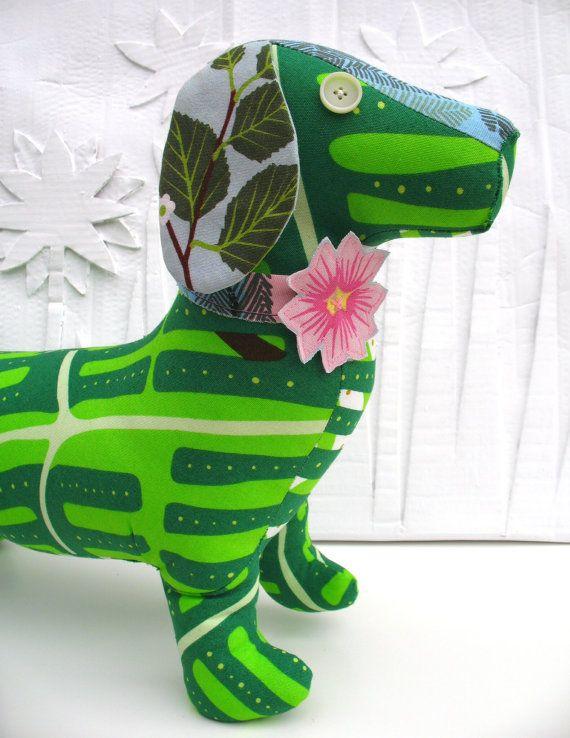 Retro sausage dog toy Scandinavian fabric Large by Birdagram