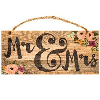 Mr & Mrs Wood Floral Wood Wall Decor