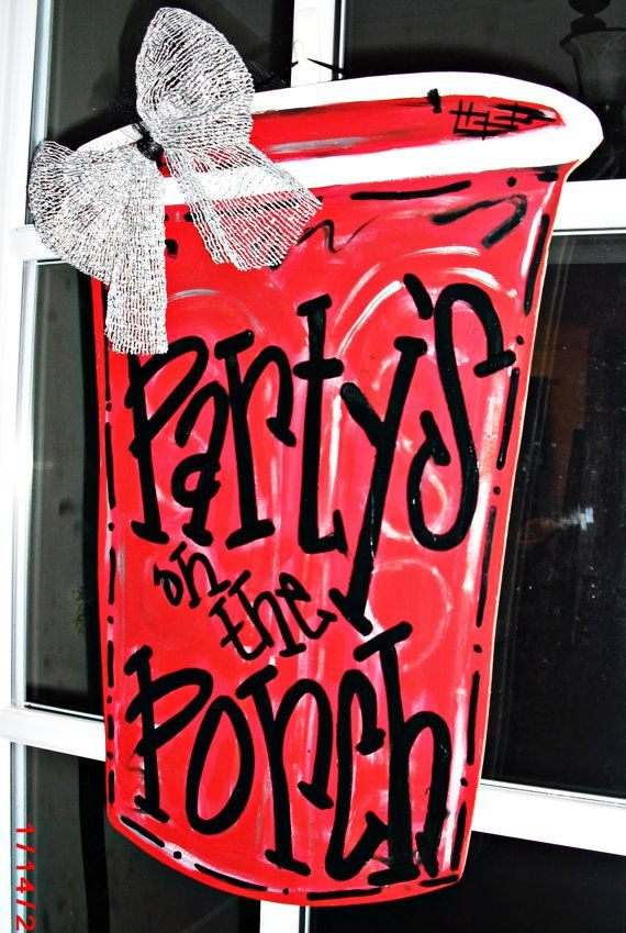 RED SOLO CUP Wood Cut Out Door Hanger by TheWaywardWhimsy on Etsy, $35.00