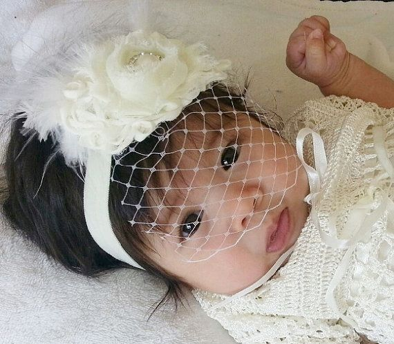 Baby Baptism Headband -another new design in the Shabby Rose collection. I make this headband with 2 ruffled roses, white boa feathers and one