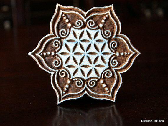 Hand Carved Indian Wood Textile Stamp Block- Large Floral Motif
