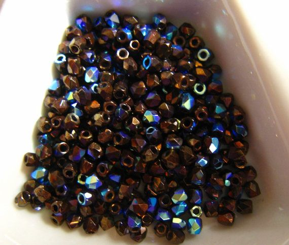 Fire Polish True 2MM Jet Bronze AB   Approx 600 by BeadsToWeave