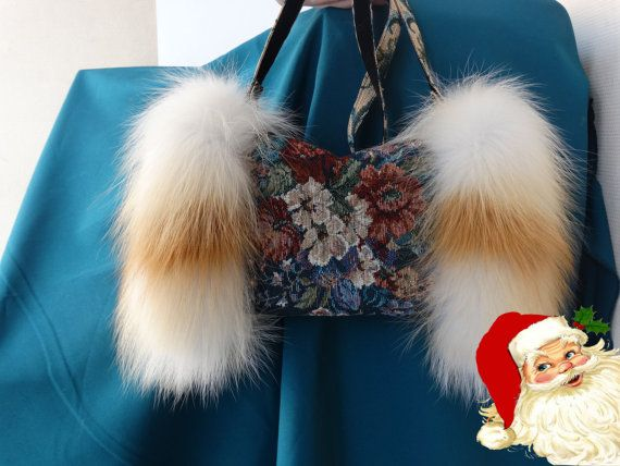 Fox fur and tissues coupling / muff by SiberianPresent on Etsy