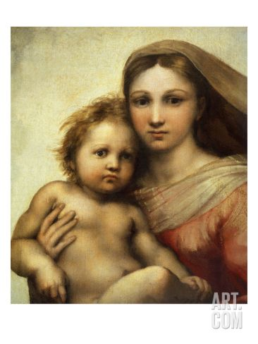 The Sistine Madonna, Madonna and Child with Pope Sixtus II and Saint Barbara, C. 1512, Detail Giclee Print by Raphael at Art.com