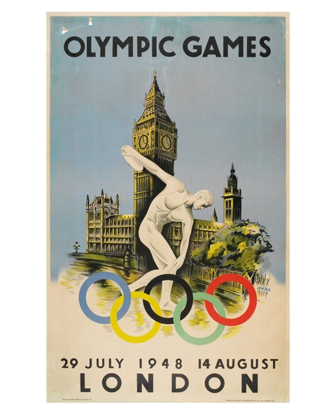 Official poster for the 1948 London Olympic Games by Walter Herz.: Vintage Posters, Posters 873, Olympics Stuff, Olympic Posters, London Olympics, Poster Vintage, London Vintage