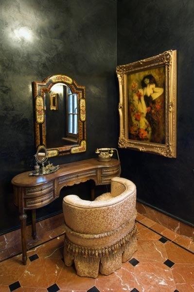 Gorgeous black plaster bathroom.  by Venetian Vineyard
