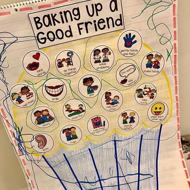 Baking Up a Good Friend anchor chart. Teach students how to be a good friend using visual supports. Perfect for preschool, pre-k, and kindergarten.