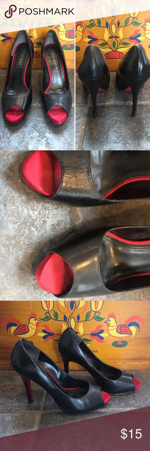 """Nine West black heels w/ red bottoms, sz 6M Item: Nine West black heels with red peep toe & red bottoms, sz 6M Brand: Nine West Tag size: 6M Measurements: 4"""" heel / 3"""" across toe box  ** Some wear, see pictures.    ~measurements are estimations taken in inches on a flat surface Nine West Shoes Heels"""