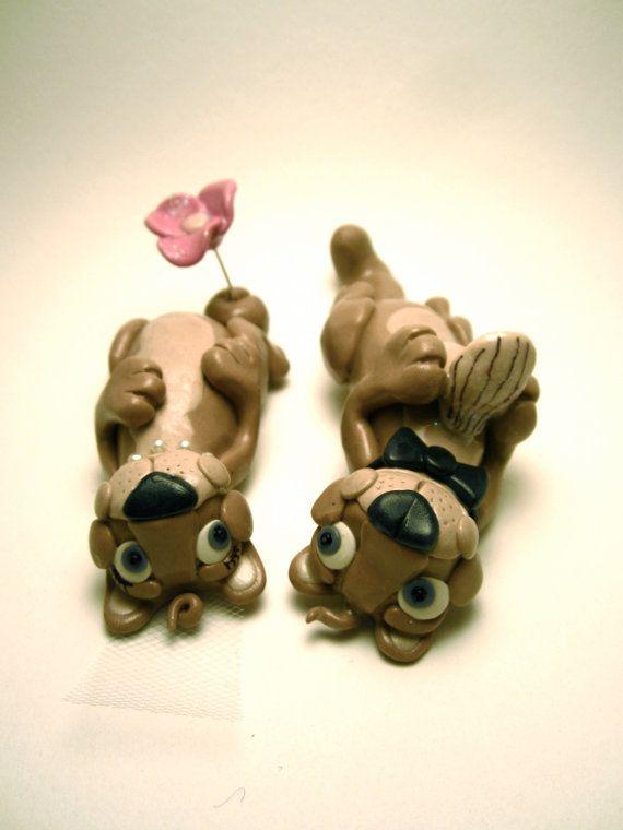 Otters in Love  Custom Animal Wedding Cake Topper  by Tobbers. , via Etsy.