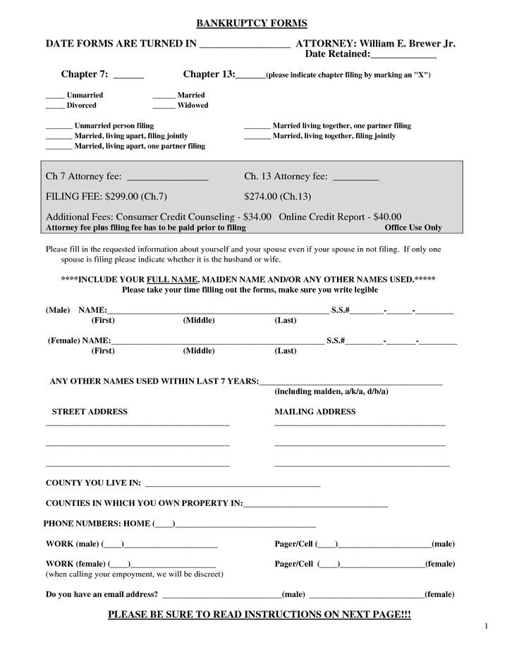 Bankruptcy Sample Form #bankruptcy #sample #form