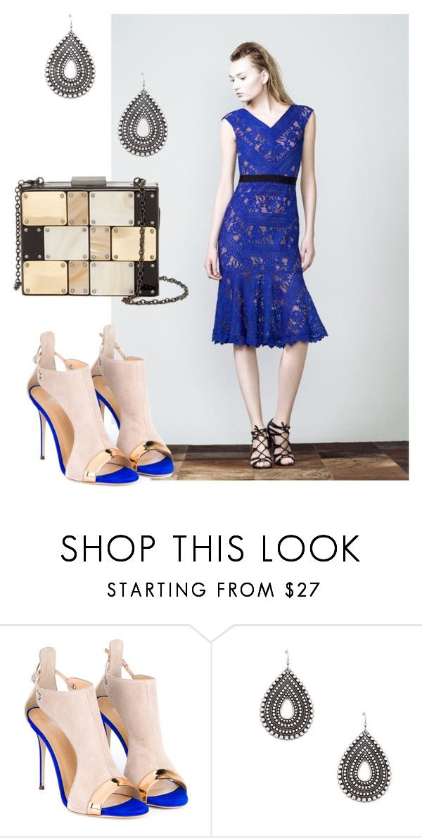 """Royal blue lace"" by soniahthelabel on Polyvore featuring Giuseppe Zanotti, Sole Society and Sondra Roberts"