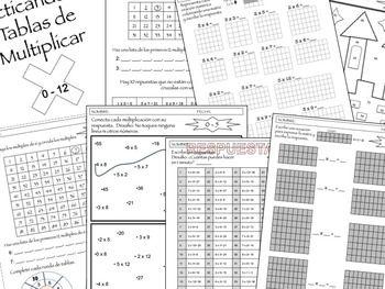 En Español- Practicar multiplicación del 0-12 para centros/trabajo independiente