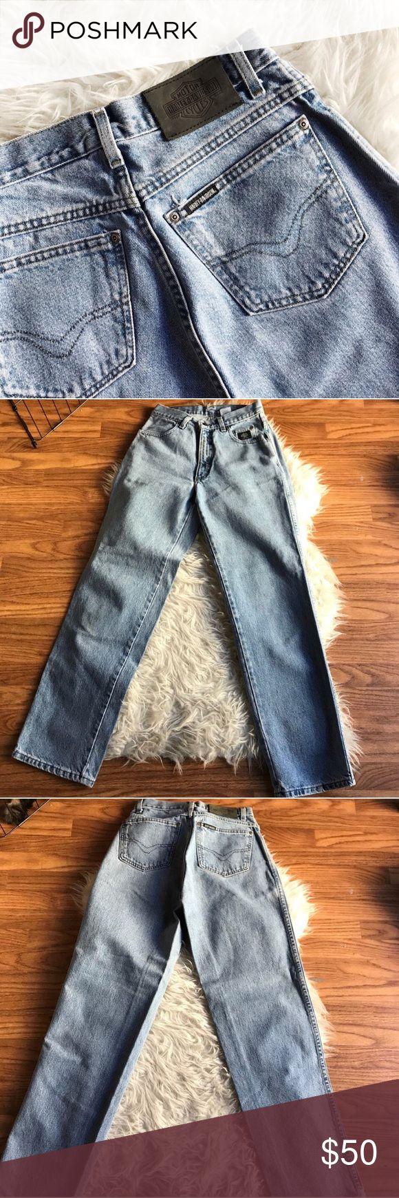 "Vintage high waisted Harley Davidson jeans Vintage high waisted Harley Davidson jeans 😭💗 in amaaazing condition!  Measurements: Around waist: 28"" Waist laying flat: 14"" Hips laying flat: 19"" Around hips: 38"" Length of leg: 42"" Inseam: 31.5"" Front rise: 11"" Back rise: 16"" Harley-Davidson Jeans Straight Leg"