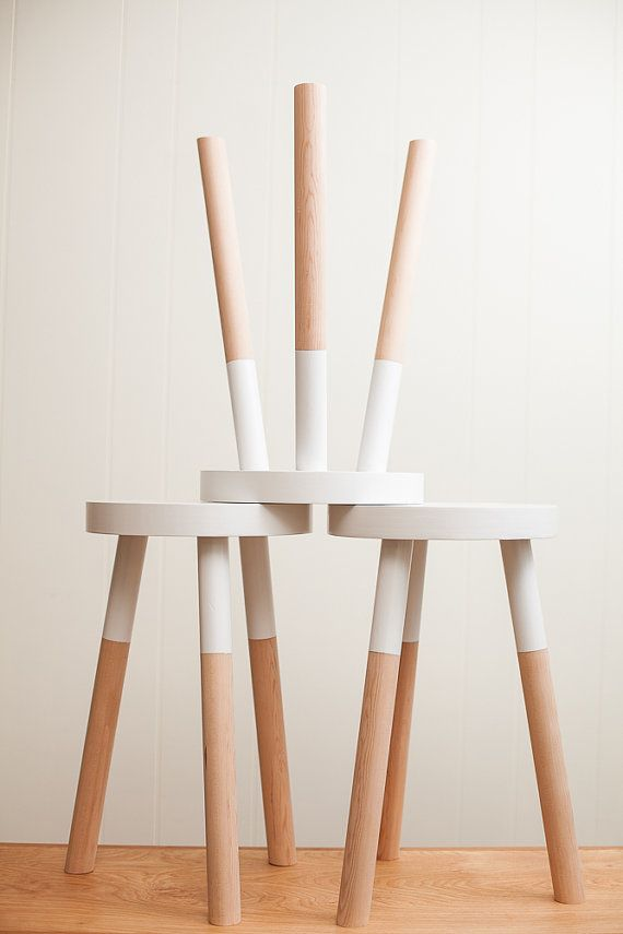 handmade wooden stool banco asiento madera blanco