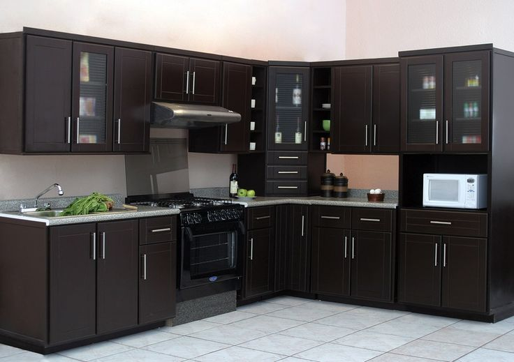 Cocinas para casas peque as color chocolate dise o for Gabinetes de cocina pequena