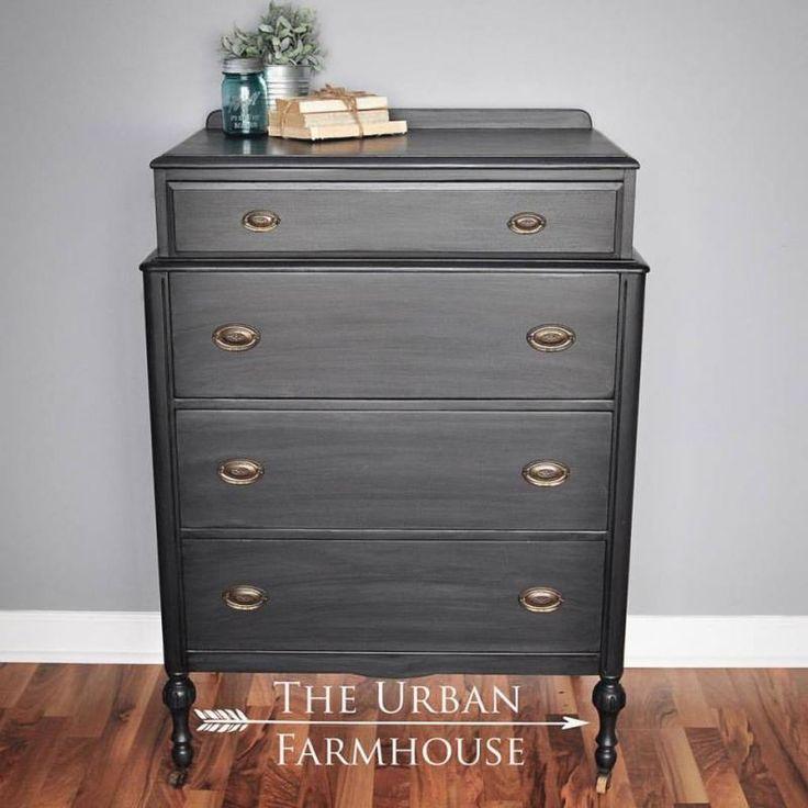 Dresser Decked in Queenstown Gray & Pitch Black Glaze | General Finishes Design Center