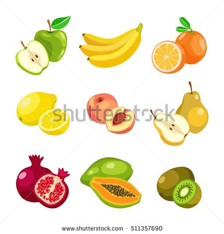 Beautiful colorful fruit icons. Vector illustration, flat
