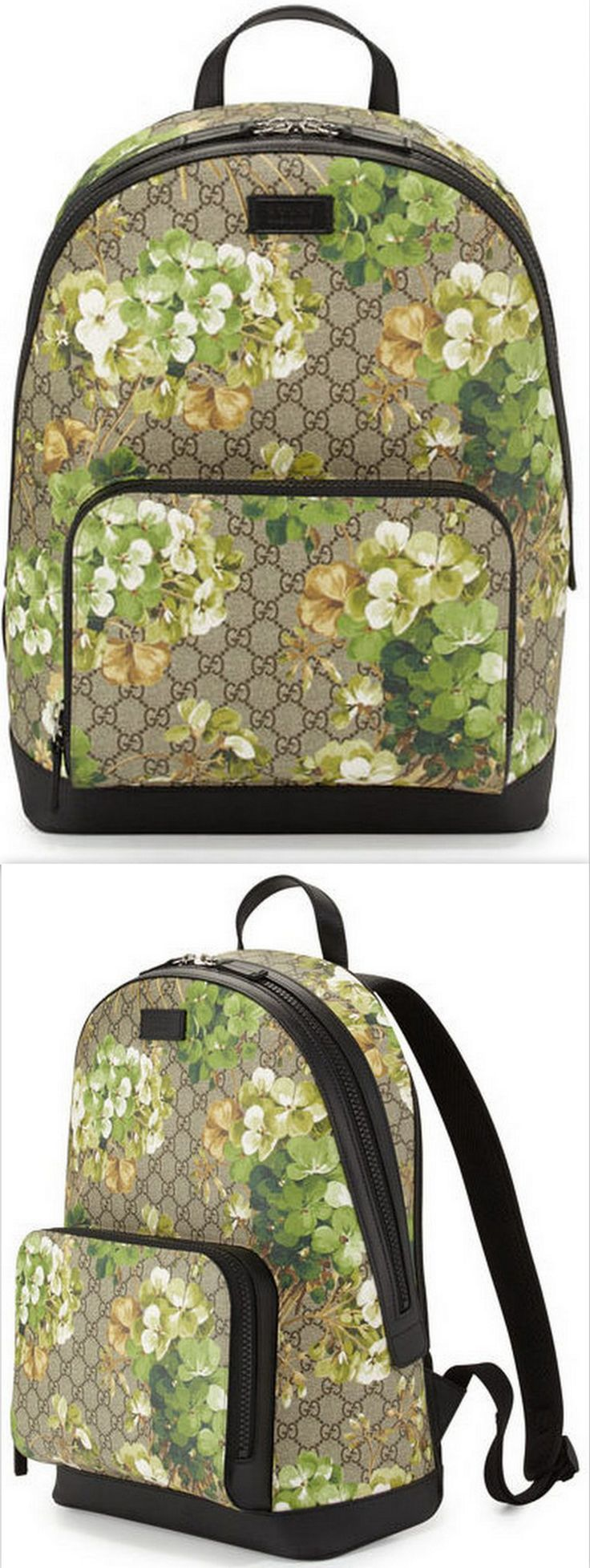GG Blooms Canvas Backpack - Green Multi