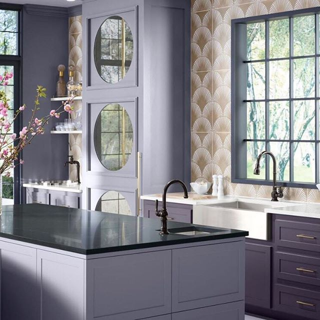 The Kohler Artifacts faucet collection brings you classic designs reimagined in fresh new ways for various task areas of the kitchen.  An Oil-Rubbed Bronze finish on the primary, prep and bar faucets creates a vintage look with midcentury modern charm.  @kohlerco #kohler #kitchendesign #interiordesign #kitchenideas #COY2018 #ultraviolet #kitchenfaucet #pulldownfaucet