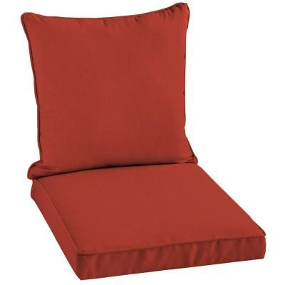 Patio Cushion Ideas   Hampton Bay Ruby Solid 2 Piece Welted Outdoor Chair  Cushion