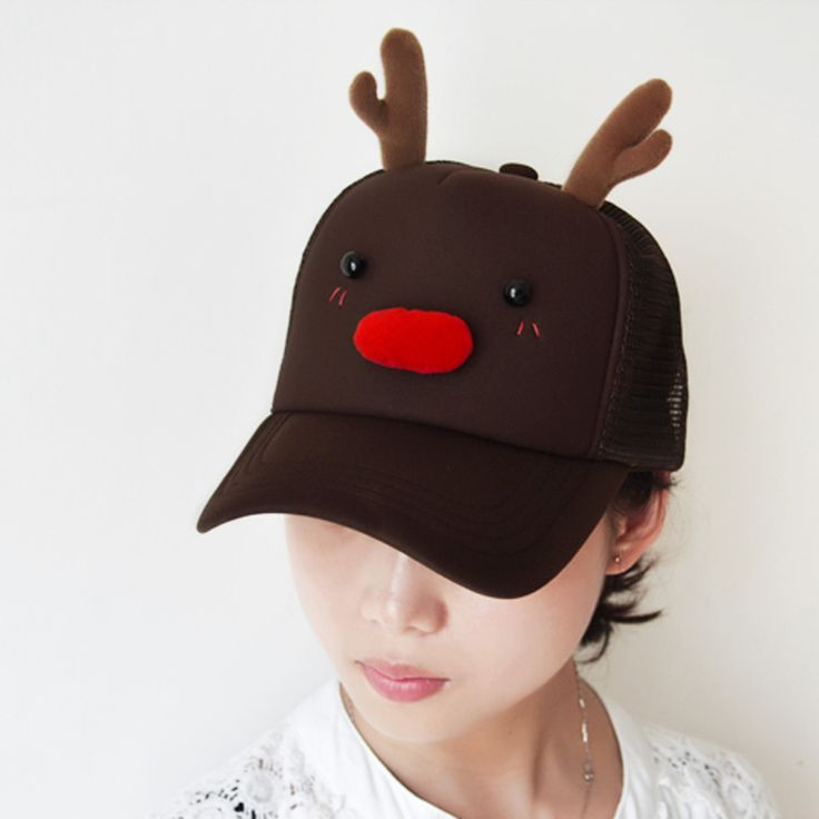 baseball cap ears hat tucked in over pink rabbit caps girls cute reindeer