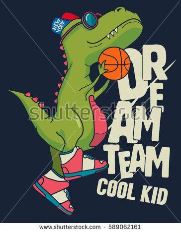 dinosaur, basketball player vector design for kids tee