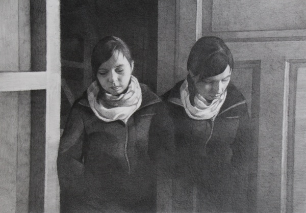 "Elisabeth Widmark, ""The neighbours"", graphite on paper, 30x40 cm (2013)"