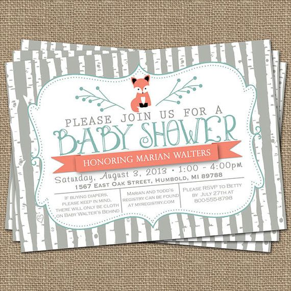 birch tree fox baby shower invitation, typography baby shower invitation, digital, printable file (any colors)