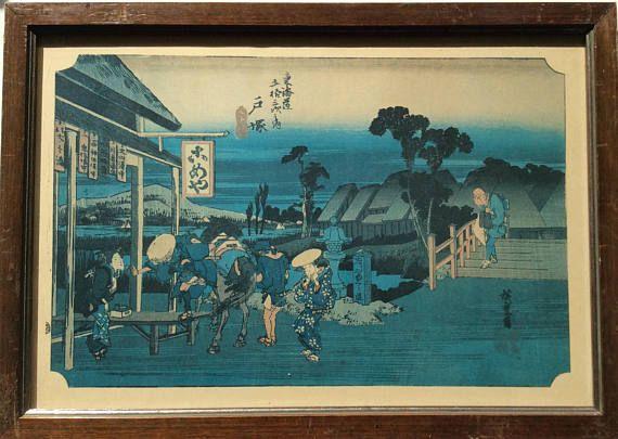 Drie omlijst vintage prints, Japans, vijftig drie stations Japans cultuur, Mount Fuji. Drie Japanse prenten, Japanse kunst en cultuur