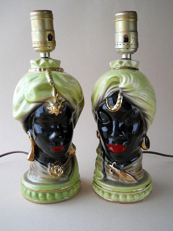 Vintage African Head Shawnee Blackamoor Table Lamps 1950
