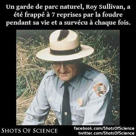 En savoir  (en anglais) : https://en.wikipedia.org/wiki/Roy_Sullivan #foudre #sullivan Un garde de parc naturel Roy Sullivan a été frappé à 7 reprises par la foudre pendant sa vie et a survécu à chaque fois.