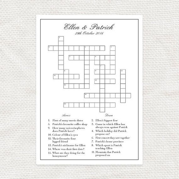 Custom designed wedding crossword  printable file  bridal shower game puzzle reception