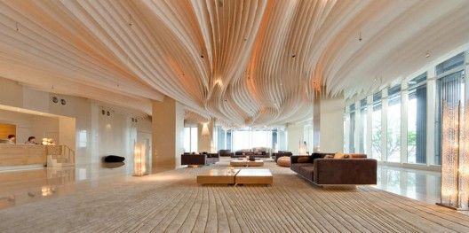 Hilton Pattaya - I adore how the sculptural qualities of this space are enhanced by the lighting -0 it's fluid, majestic and theatrical all at once