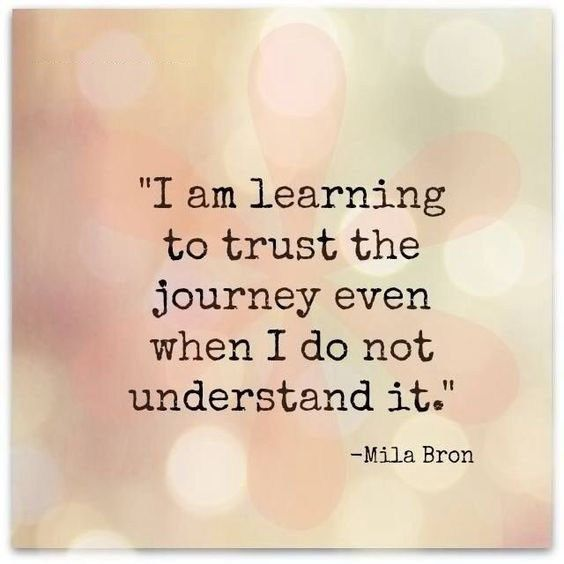 i am learning to trust the journey even when I do not understand it.
