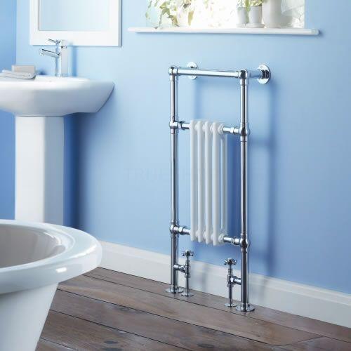 Trent - Traditional Brass Heated Bathroom Towel Radiator Rail 930mm x 495mm - Image 1