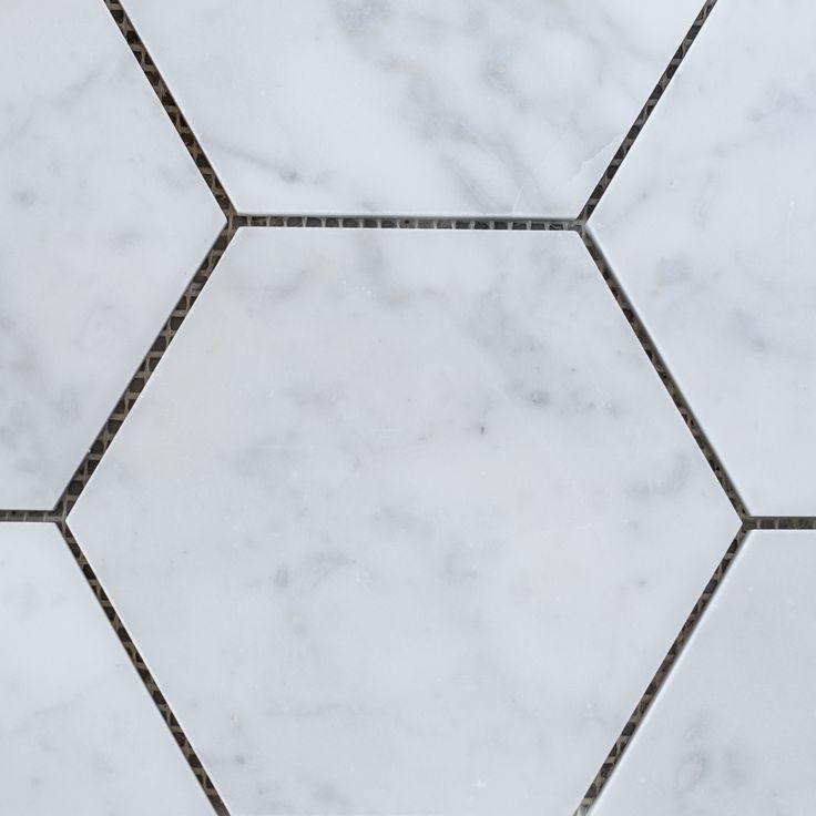 Designer Marble   Carrara Hexagon Mosaic 144mm