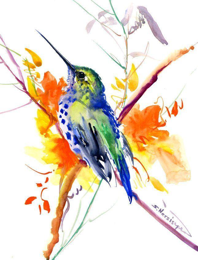 Hummingbird And Orange Flowers Artwork Hummingbird Original